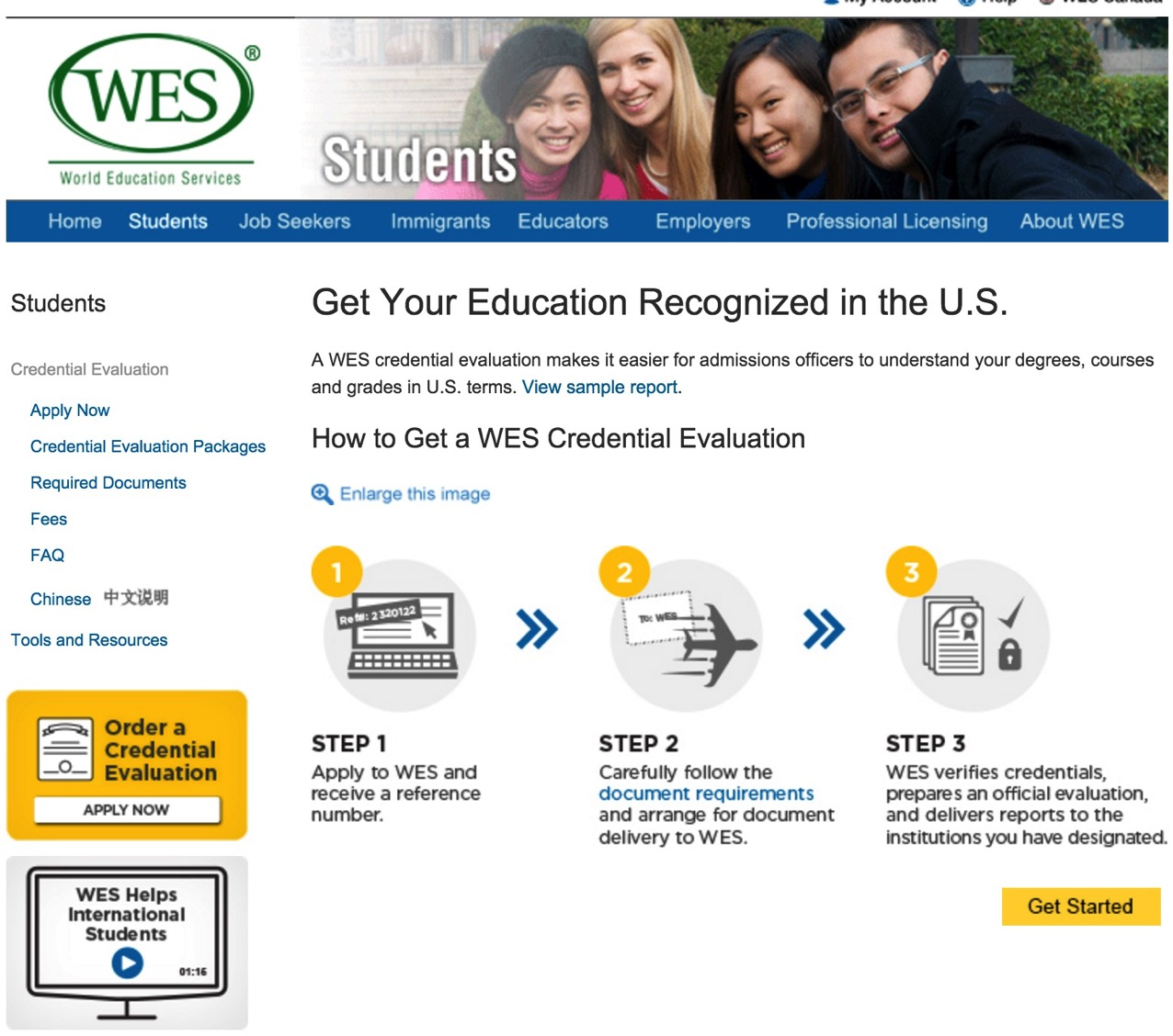 Credential Evaluation for International Students WES