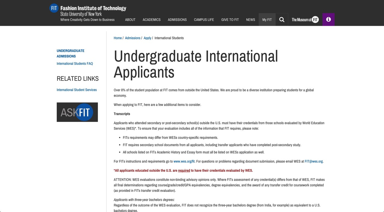 Undergraduate International Applicants Fashion Institute of Technology