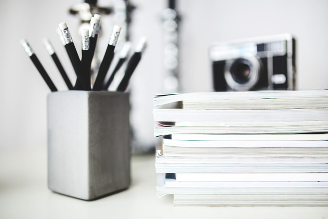 Magazines desk work workspace copy